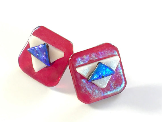 Red, white, and blue earrings for Independence Day - VintageRenude