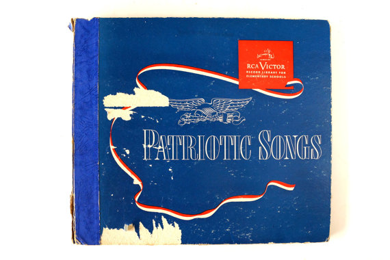 Patriotic Songs RCA Victor Record Library to play music during your party, and the album cover can be used for decoration - ThirdShiftVintage