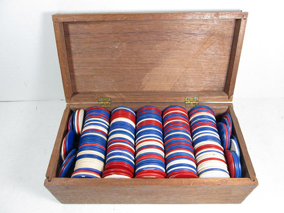 Sprinkle these red, white, and blue poker chips on a 4th of July party table - GirlPickers
