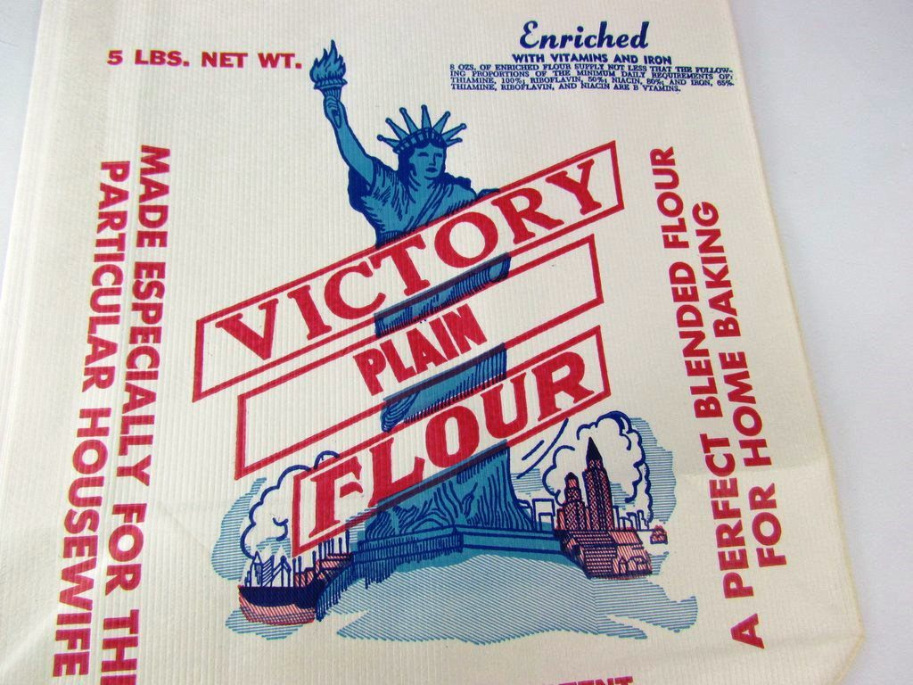 Place this flour bag on a party table for a conversation piece - AtticAndBarnTreasures