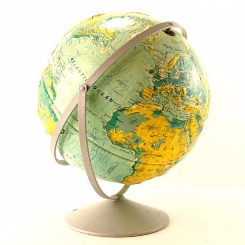 Vintage Nystrom World Relief Globe On Stand