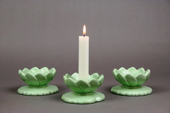 Vintage Haeger Water Lily Candleholders