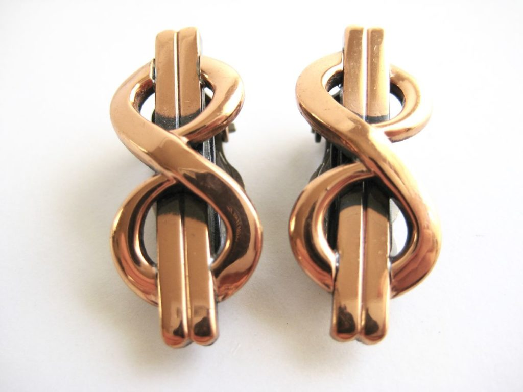 Copper Infinity earrings, circa 1950's. Offered by Vintage Renude.
