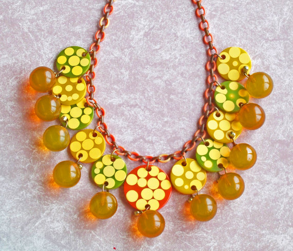 Rare Bakelite injected dot necklace available from Bakelite Queen on Etsy