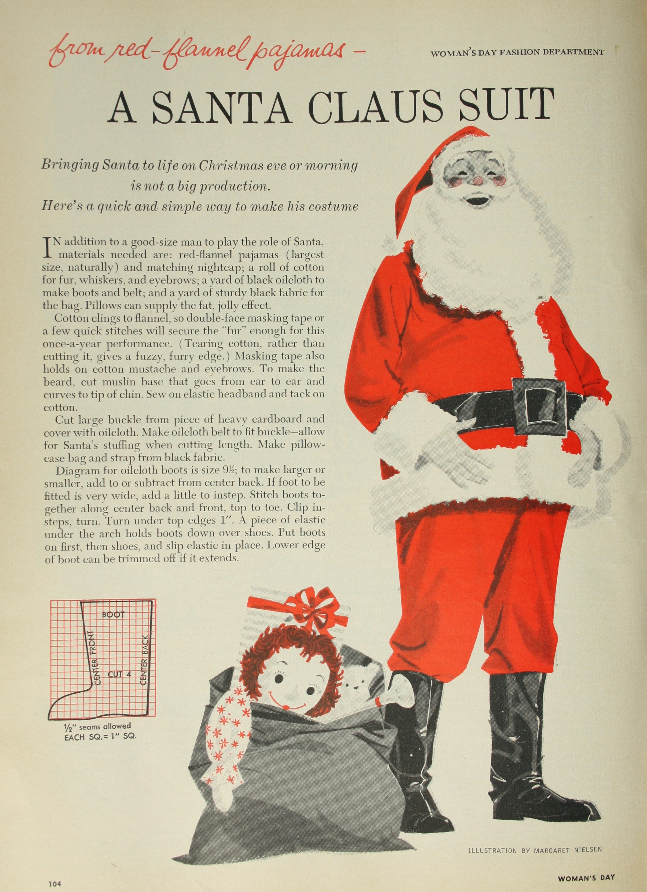 Dressing Santa? A frugal outfit using red flannel pajamas!